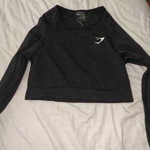 Black gymshark crop top long sleeve